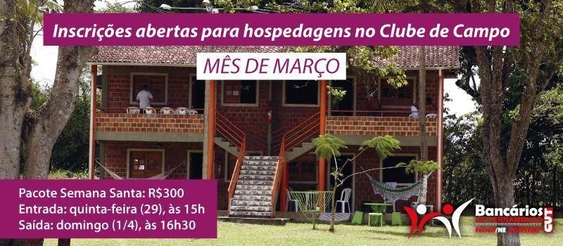 Inscrições abertas para hospedagem no Clube de Campo no mês de março